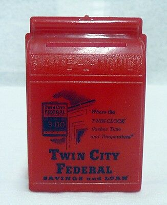 Plastic Still Coin Bank Advertising Twin City Federal Bank