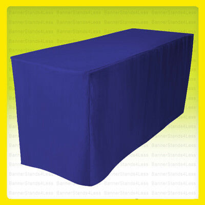 "4' Fitted Polyester Tablecloth Wedding Banquet Event Table Cover 30"" ROYAL BLUE"