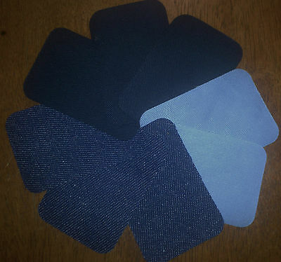 Birch Iron On Menders 8 Patches Repair Patch Mending Fabric X 8 Sky Navy Denim