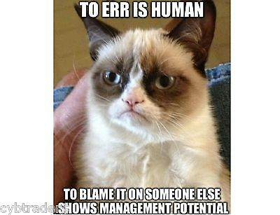 Funny Grumpy Cat To Err Is Human   Refrigerator / Tool Box / Magnet
