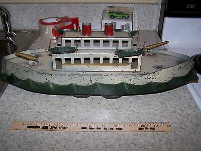 Antique Hill Climber GunBoat 19 inches nice original paint working flywheel