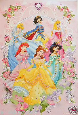 "DISNEY ""PRINCESSES ENCIRCLED BY FLOWERS"" POSTER-Snow White,Belle, Ariel, Jasmine"