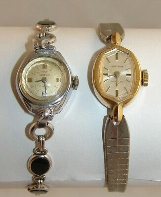 2 Vintage Waltham 17 Jewel Ladies Wrist Watch Swiss Made Lady