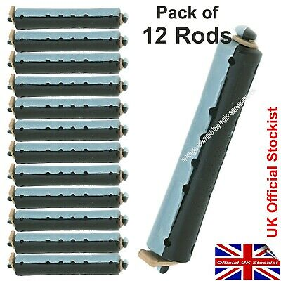 Perm Curler Rods For Perming Hair. BLACK / GREY Larger Size Rollers Pack of 12