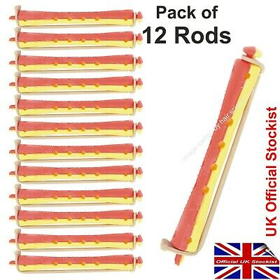 Perm Curler Rods For Perming Hair. RED / YELLOW Smaller Size Rollers Pack of 12