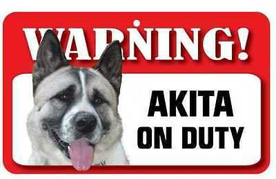 Akita Sign - Laminated Card -  Beware Of Dog 20cm x 12cm