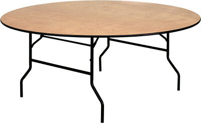 Lot of 15 6ft Wood Top Round Banquet Catering Folding Tables
