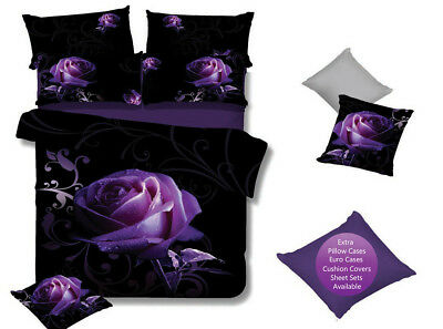 PURPLE ROSE Queen/King/Super King Size Bed Duvet/Doona/Quilt Cover Set New