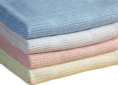 Snugly & Soft 100% Cotton Cellular Baby Blanket- Pram,Cot,Crib or Mosses Blanket
