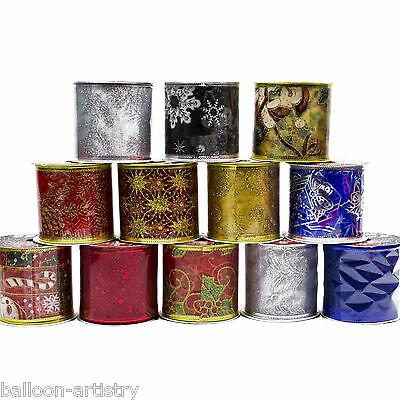 12 Christmas Gift Wrap Festive Fabric 9ft Glitter Tulle Decorating Ribbon Rolls