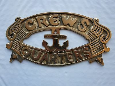 "Solid Brass ""Crews Quarters"" Door Sign ~ Nautical Maritime ~ Boat Ship Decor"