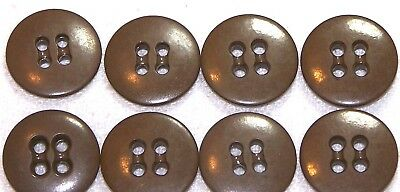 WWII butterscotch brown trouser and shirt rimless buttons 5/8in lot of 8 B8076