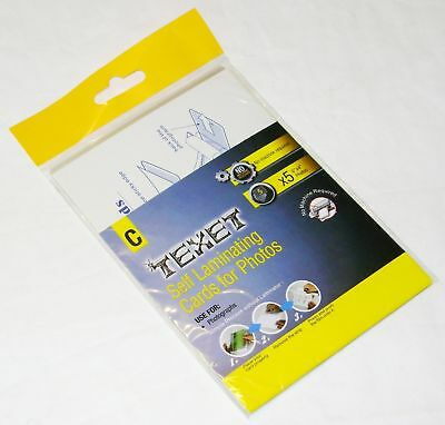 """NEW 5 SELF LAMINATING CARDS FOR 6"""" x 4"""" PHOTOS NO MACHINE REQUIRED! TEXET C"""