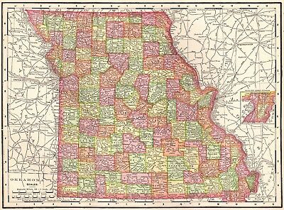 1911 Vintage MISSOURI Map 1900s Collectible Map of MISSOURI State Map