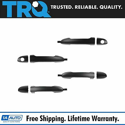 Door Handles Outside Smooth Black Front Rear Set of 4 for Kia Spectra Spectra5