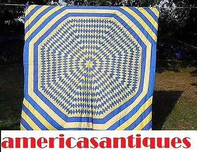 AMERICAS ANTIQUES LARGE 2 COLOR BROKEN STAR QUILT TOP c 1920s