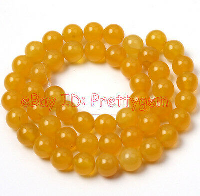 8,10,12,14mm Natural Round Smooth Yellow Agate Gemstone Beads Spacer Strand 15""