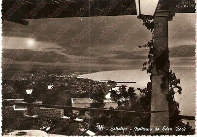1960 ca CATTOLICA (RN) Panorama notturno all' EDEN ROCK *Cartolina FG VG