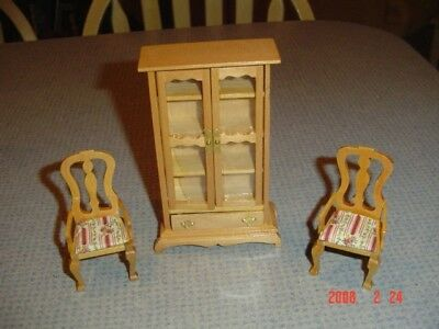 2 Chairs w/Upholstered Seats and Tall Cabinet Wood Doll House Furniture