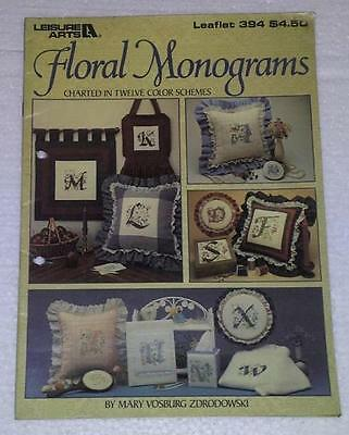 Counted Cross stitch Chart- Leisure Arts , Floral Monograms #394