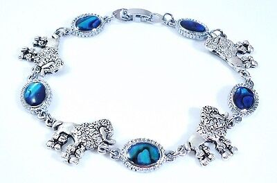 7.28 Inch cute Poodle Lovers anti. silver plate and Paua Shell Bracelet 18.5 cm