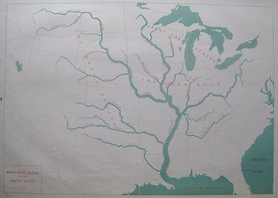 RARE 1940 UNITED STATES Map RIVER BASINS Map of The United States Poster Print