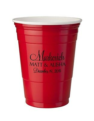 250 Custom Personalized 16oz Red Solo Cups Wedding Favor Bar Cups