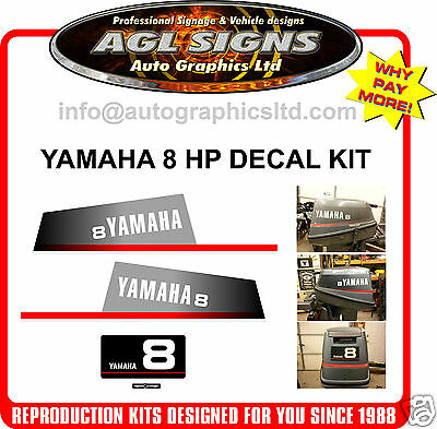 1994 Yamaha 8 Hp Outboard Decal Set, Reproduction