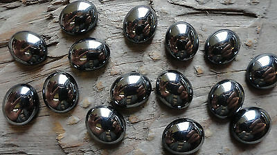 Hematite colored Mirror High Gloss GLASS 10x12mm Cabochon Gemstones (pkg of 15)