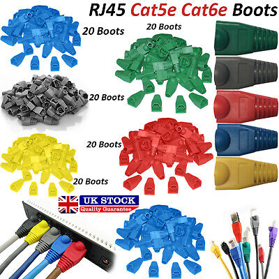 100x RJ45 Cat5e Cat6e LAN Network Ethernet Cable Modular Connector Snagless Boot