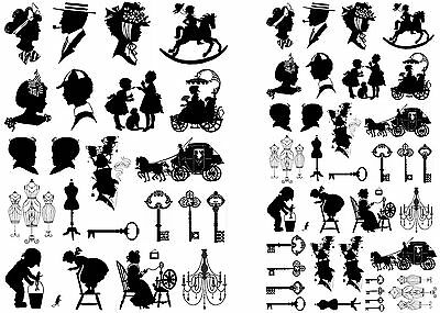 """Victorian People Keys Chandelier 5""""X7"""" Card Fused Glass Decals 12-CC-20"""