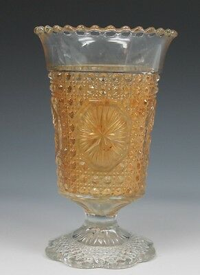 IMPERIAL GLASS CLAMBROTH STAR MEDALLION CELERY VASE