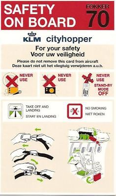 Safety Card - KLM Cityhopper - Fokker 70 F70 (SC305)