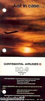 Safety Card - Continental - DC-9 15 F / 30 - 1982 (S3033)
