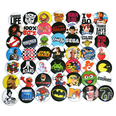 1980s RETRO PARTY BADGES x 50 Button Pins Bulk Wholesale Lot 80s 32mm 1.25""