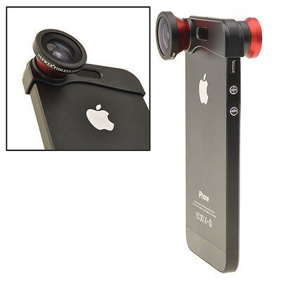 180° Degree Fish Eye Lens+Wide Angle Lens+Macro Lens 3-in-1 Kit for iPhone 5 5s