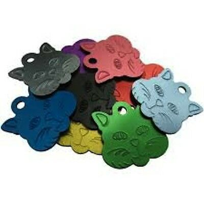 Aluminium Alloy Metal Cat Face, Cat Dog Id Pet Tags Disc 30mm Various Colours