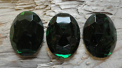 Cabochon Plastic Princess Gem Fun 30x40mm DARK GREEN Emerald (pkg of 3)