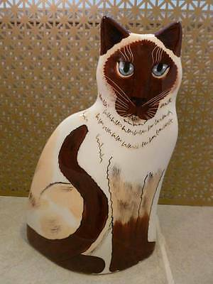 "Cats by Nina Lyman Siamese Cat Hand Painted Art Pottery Ceramic 11"" Vase"
