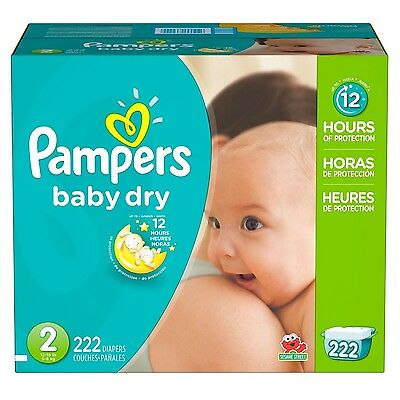 Pampers Baby Dry Diapers Size 2 12-18 lbs 222 Ct - Brand New Item