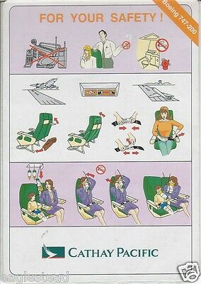 Safety Card - Cathay Pacific - B747 200 (S3384)