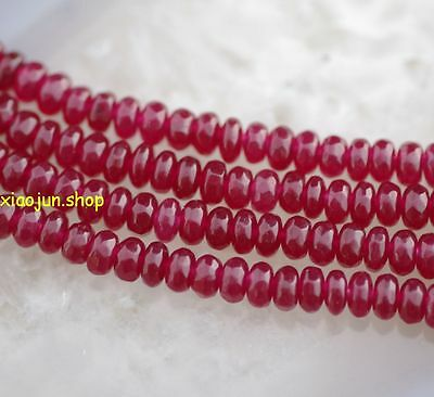 Natural 2x4mm Faceted India Ruby Gemstone Abacus Loose Beads 15'' AAA