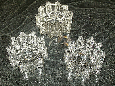 Set of 3 Cut Glass Individual Open Salt Dips Zipper Notch star Pattern 1.875""