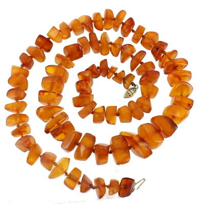 """Semi Antique 14k Gf Gold Filled Stunning Knotted Baltic Amber Necklace 28"""""""