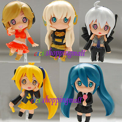 Lot!! Vocaloid Hatsune Miku anime cute PVC Figures Doll Toys ,Set of 5pcs,New