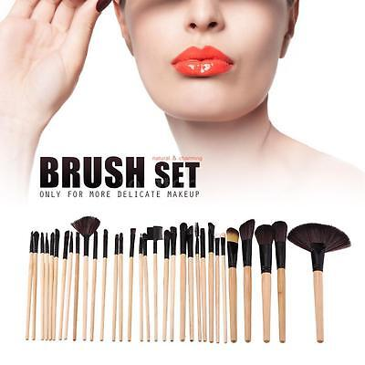 Wood 32 PCS Makeup Brush Set Pro Cosmetic Brushes Make Up Kit + Pouch Bag Case
