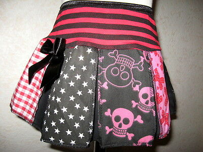 NEW Girls Black Pink Red Stripes Skulls Stars Check Bows Hearts Skirt Party Gift
