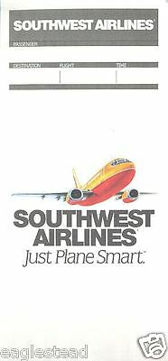 Ticket Jacket - Southwest - Just Plane Smart - B737 Cover - 1994 (TJ290)