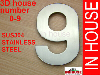 3D House Number, 0-9, A,B,CSUS304 stainless steel, brushed finish