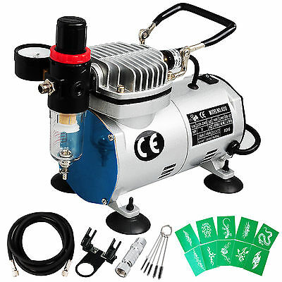 Professional 1/6hp AirBrush Compressor Airbrush Hose Stencils Nail Craft Paint
